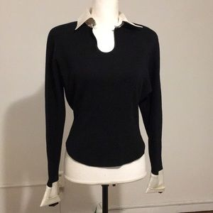 Tops - BLACK BLOUSE WOTH SHOULDER PADS SIZE SMALL